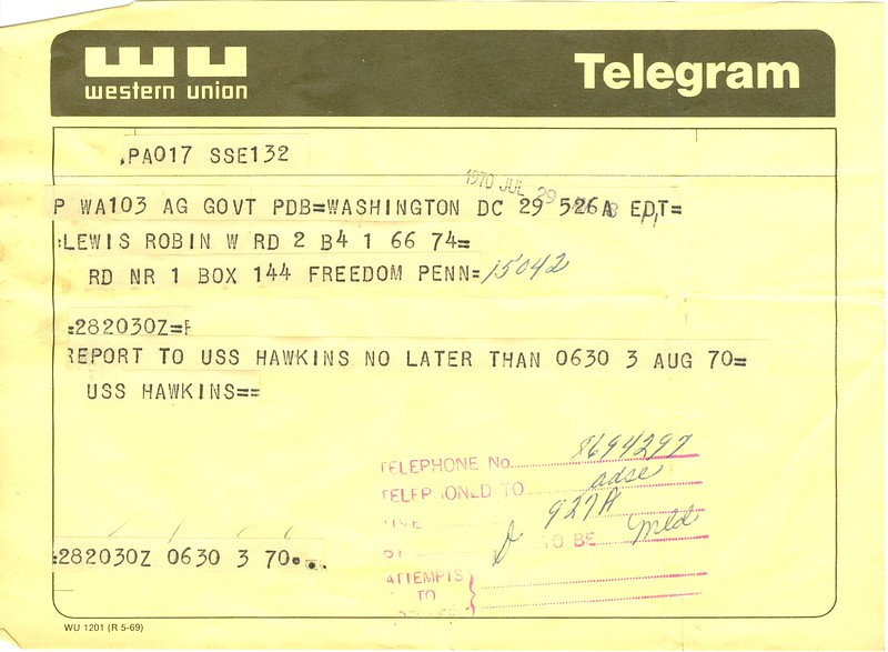 Western Union Telegram Report back (for seperation prior to ship movement)