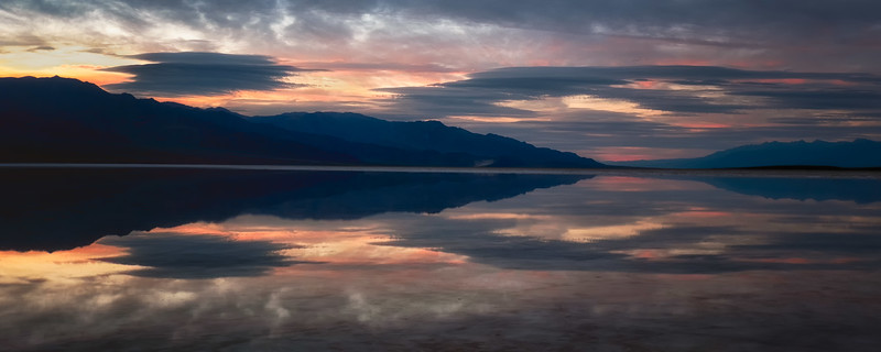 Sunset reflections in Badwater Death Valley National Park California