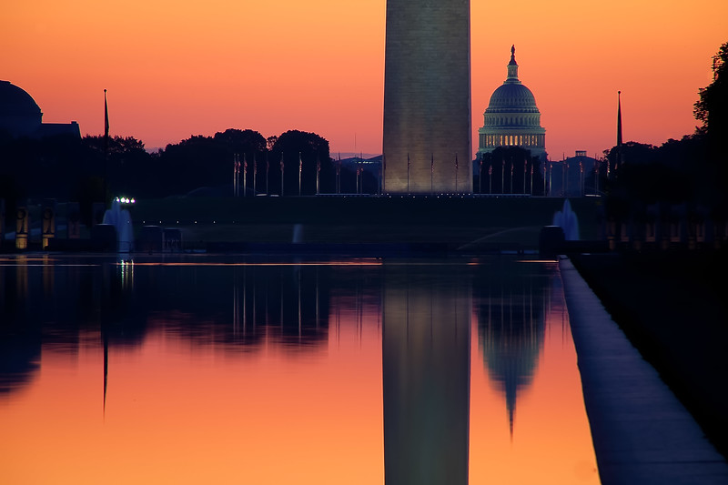 Dawn at the US Capital with the Washington Monument and the Reflection Pool