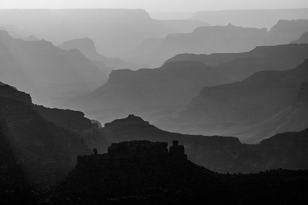 Black and white image of Yavapai Point on Grand Canyon South Rim in Arizona