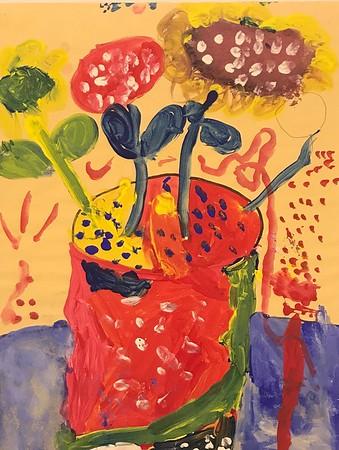 "Maverick Fox, grade 2 ""Van Gogh Inspired Sunflowers"" tempera on paper 12""x18"""