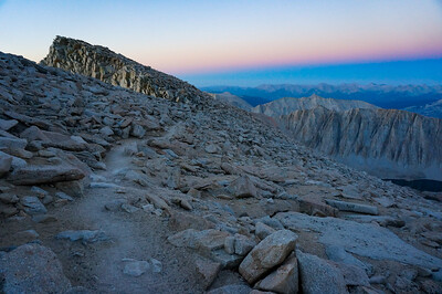 Along the trail to Mt Whitney summit at dawn