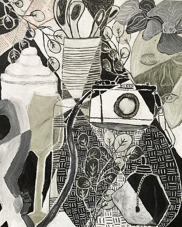 """Grace Buzgo, grade 9 """"Cubist Still Life"""" mixed media 18""""x24"""""""
