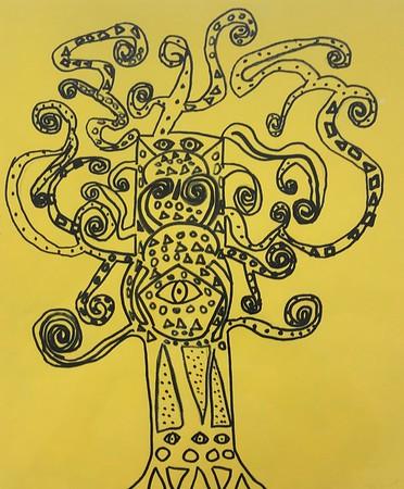 """Jack Fratolillo, grade 3 """"Gustav Klimt Inspired Tree of Life"""" sharpie marker on yellow paper 12""""x16"""""""