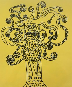 "Jack Fratolillo, grade 3 ""Gustav Klimt Inspired Tree of Life"" sharpie marker on yellow paper 12""x16"""
