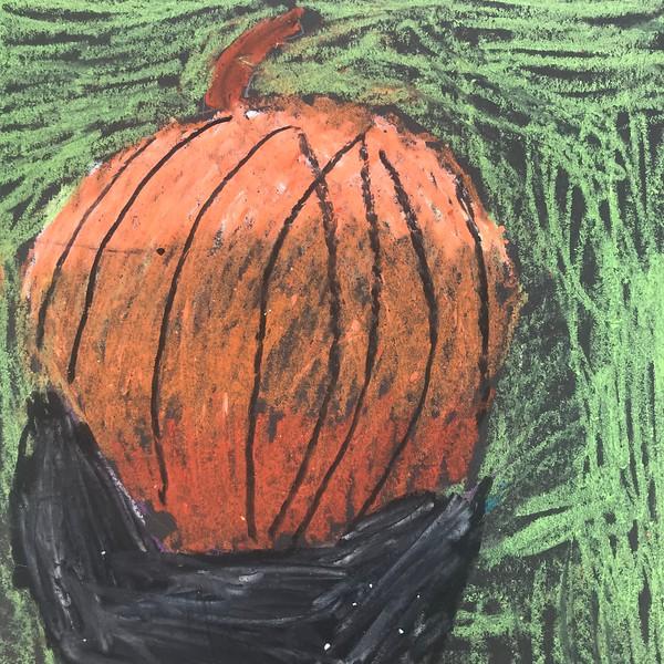 "Nathan Kiser, grade 1 ""Runaway Pumpkin"" oil pastel on black paper 6""x6"""