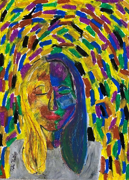 "Kate Kenworthy, grade 5 ""Self Portrait"" oil pastel 9""x12"""