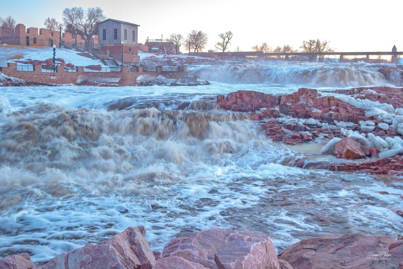 Flooding at the falls park in Sioux Falls, South Dakota.<br /> <br /> Enjoy and old hands.