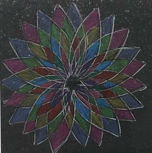 "Audrey Edgert, grade 3 ""Radial Symmetry"" colored pencil on black paper 6""x6"""