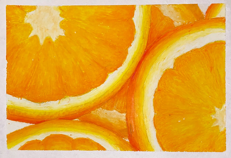 "Ashley Zilora,  grade 10 ""Orange Crush"" oil pastel"
