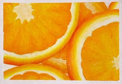 "Ashley Zilora,  grade 10 ""Orange Crush"" oil pastel"
