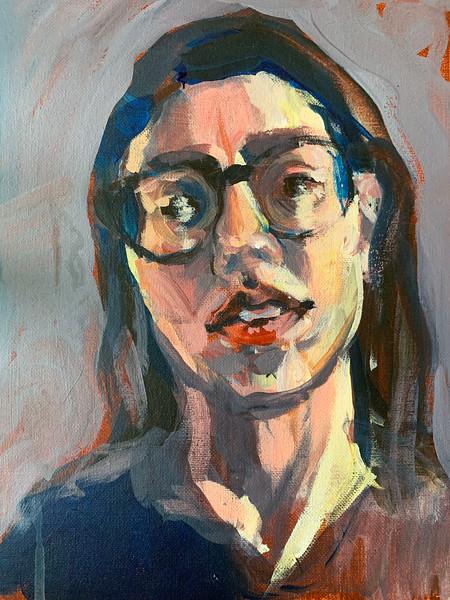 "Sara Higger, teacher ""Early Quarantine"" acrylic 9""x12"""