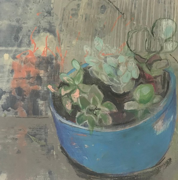 "Tracey Babin, Teacher ""Succulents"" mixed-media on paper"