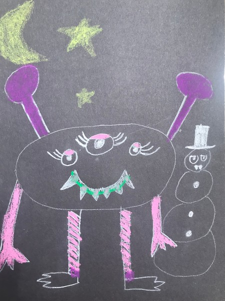 "Brynn Corrigan, grade 1 ""Textured Monster"" colored pencil on black paper 9""x12"""