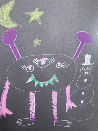 """Brynn Corrigan, grade 1 """"Textured Monster"""" colored pencil on black paper 9""""x12"""""""