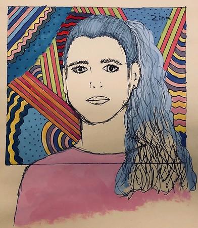 "Caroline McBreen, grade 8 ""Portrait of Zina"" tempera, manila paper, pen 12""x16"""