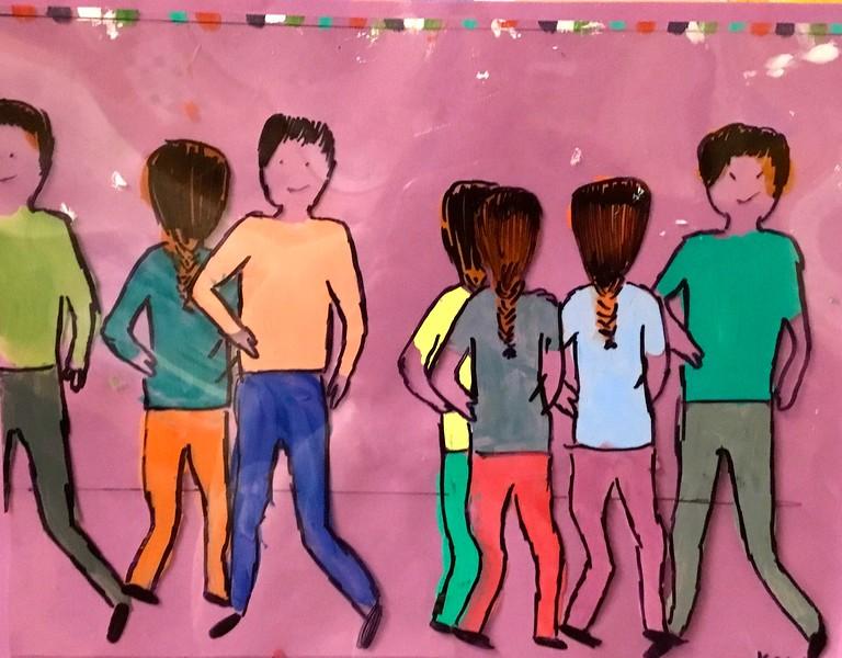 "Anna Koch, grade 8 ""The Dance""  acrylic paint, transparency 11""x8"""