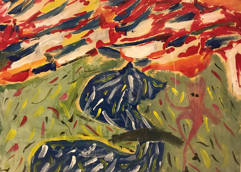 "Addie Tata, grade 3 ""Monet Inspired Landscape"" tempera paint on paper 12""x16"""