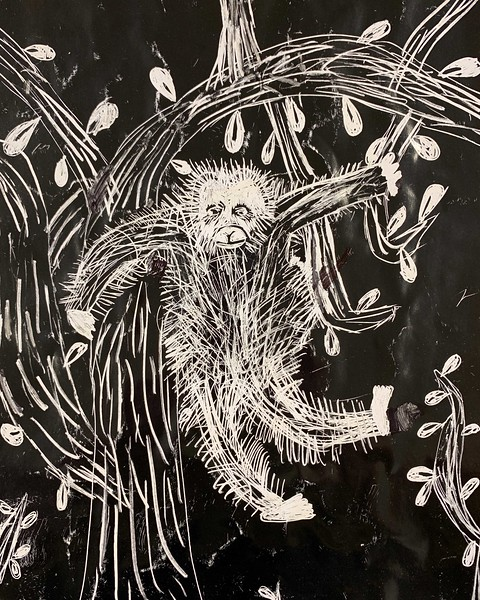 "Elizabeth Cumming, grade 4 ""Monkey"" scratch art 8.5""x11"""