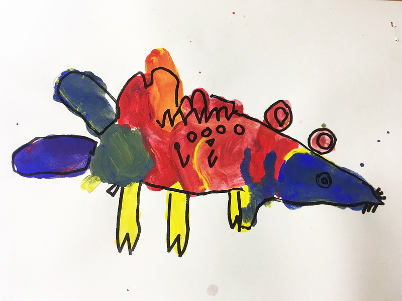 "Addison Godfrey, kindergarten ""Imagined Creature"" tempera and marker 8""x6"""