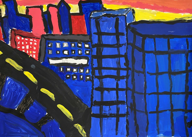"Nathan Bills, grade 4 ""Cityscape"" tempera 12""x18"""