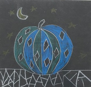 "Hannah Hartzell, grade 2 ""Yayoi Kusama Inspired Pumpkins"" colored pencil on black paper 5""x5"""
