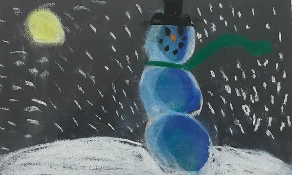 "Owen Aronowitz, grade 2 ""Snowmen at Night"" chalk pastel on black paper 9""x4"""