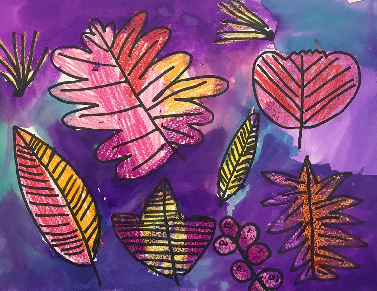 """Sofia Firat, grade 2 """"Warm vs Cool Colored Leaves"""" crayon and watercolor on paper 9""""x12"""""""