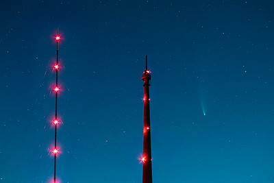 Neowise Comet and Emley Moor TV Mast