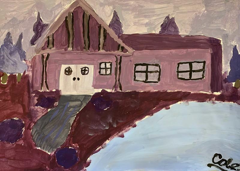 """Cole Bryson, grade 5 """"House"""" tempera 12""""x18"""""""