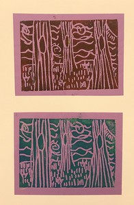 "Lia Kenworthy, grade 3 ""Environments for Where the Wild Things Are"" printing ink on colored paper 2""x4"""