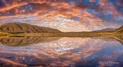Ashburton lakes district sunset reflection