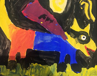 "William Sroka, grade 1 ""Art Dog!"" tempera paint on paper 12""x16"""