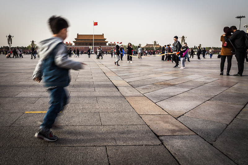 A boy in Tiananmen Square