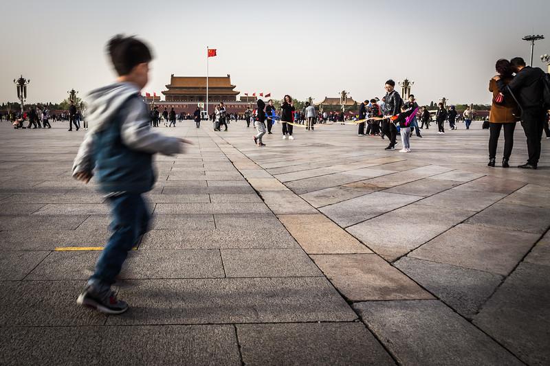 A boy in Tiananmen Square