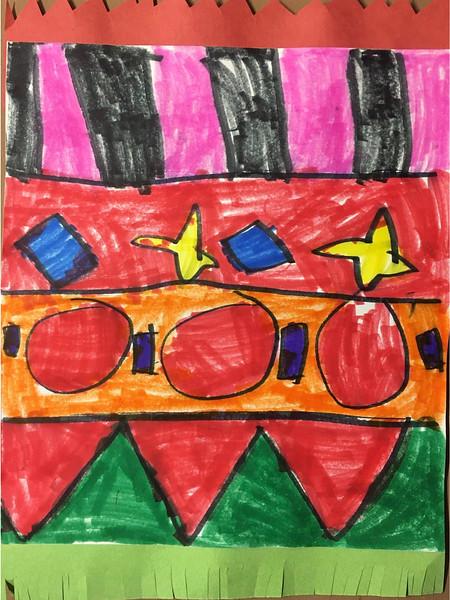 """Emilie Cabezud, kindergarten """"Patterned Rug"""" marker and cut paper 8""""x12"""""""