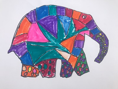 "Gwyneth McNulty, grade 1 ""Elmer the Patchwork Elephant"" marker on paper 11""x14"""