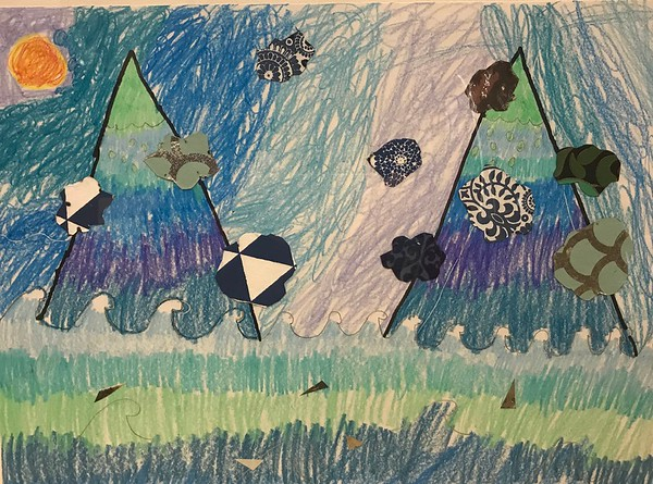 """Jordan Heavey, grade 2 """"Fauvist Imaginary Places"""" crayon and collage 12""""x16"""""""