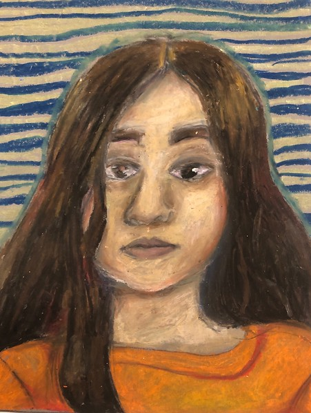"Amelia DeHoff, grade 7 ""Self Portrait"" oil pastel 9""x12"""