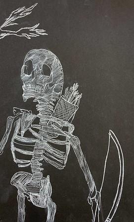 """Soren Kraus, grade 5 """"Skeleton"""" conte crayon 5""""x10"""""""
