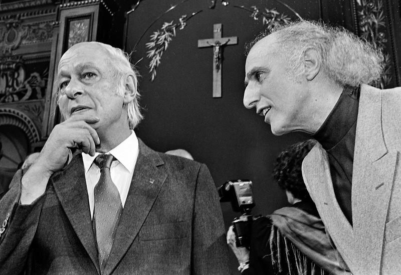 Gilles Vigneault et René Lévesque, parlement de Quebec, 1982