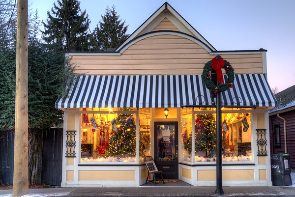 Downtown Store Decorated for Christmas - Duncan, BC, Canada