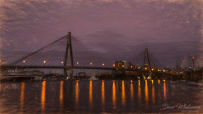 Anzac Bridge and Blackwattle Bay at dusk.