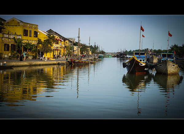 The ancient town of Hoi An and the Thu Bon River.