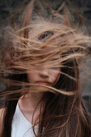 Girl with long flying hair