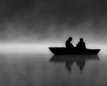 First Light, First Cast - Fine Art Photography, Black and White