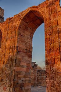 Qutub Minar It is 72.5 metres (237.8 ft) high and has a base diameter of 14.3 metres, which narrows to 2.7 metres at the last storey. Construction began in 1192 by Qutub-ud-din Aibak and was completed by Iltutmish. It is surrounded by several other ancient and medieval structures and ruins, collectively known as the Qutub complex.[1][6] Tradition assigns the erection of the pillar to Anang Pal, whose name it bears, with the date 1052 C.E. The Qutub Minar is made of fluted red sandstone covered with intricate carvings and verses from the Qur'an. Numerous inscriptions in Parso-Arabic and Nagari characters in different sections of the Qutub Minar reveal the history of Qutb. According to the inscriptions on its surface it was repaired by Firoz Shah Tughluq (AD 1351-88) and Sikandar Lodi[8] (AD 1489-1517). It is a UNESCO World Heritage Site.