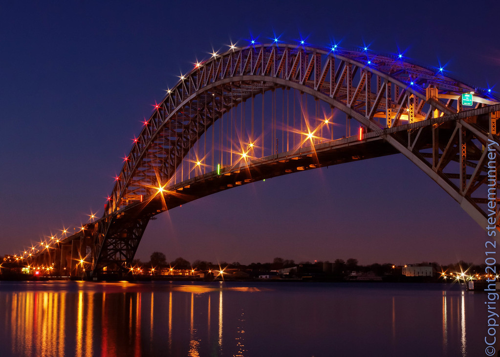 The Bayonne Bridge red, white, and blue