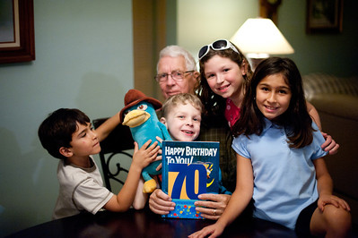 The grandkids all read Happy Birthday to You (by Dr. Seuss) to Grandpa for his birthday.