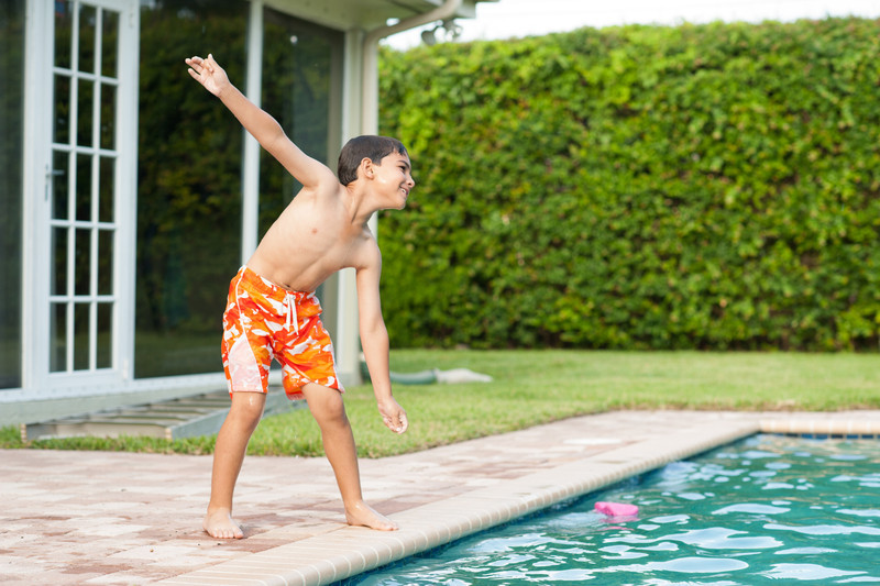 Making a grand, dancing entrance on either side of the pool.